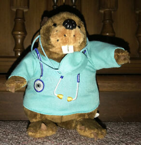 Bell Telephone Beaver Doctor Plush 6 Inches Tall Advertising