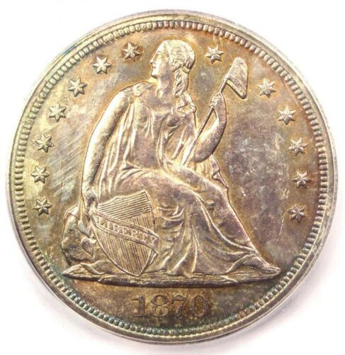 1870 Seated Liberty Silver Dollar $1 - Certified ICG MS64 (UNC) - $7,810 Value!
