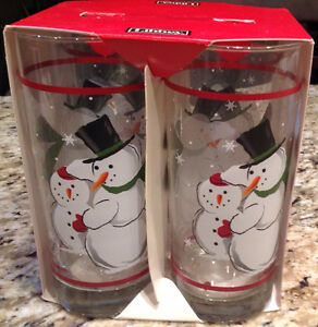 Libby Snowmen Tall Glasses - Brandnew!