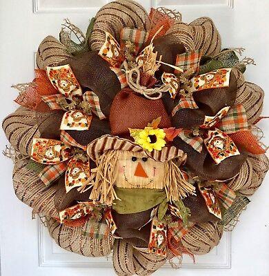 Scarecrow Face Halloween (Adorable Scarecrow With Corduroy Face Harvest Or Halloween Deco Mesh)