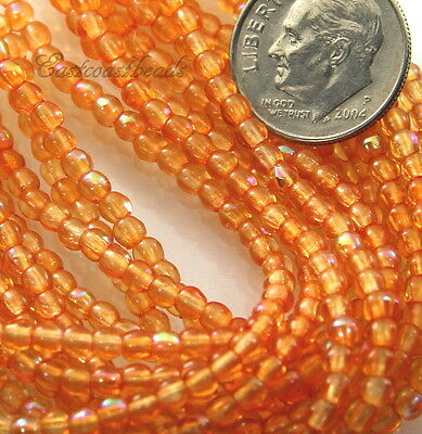Round Beads, 3mm, Orange With Ab Finish, Czech Glass Beads, 50 Pcs