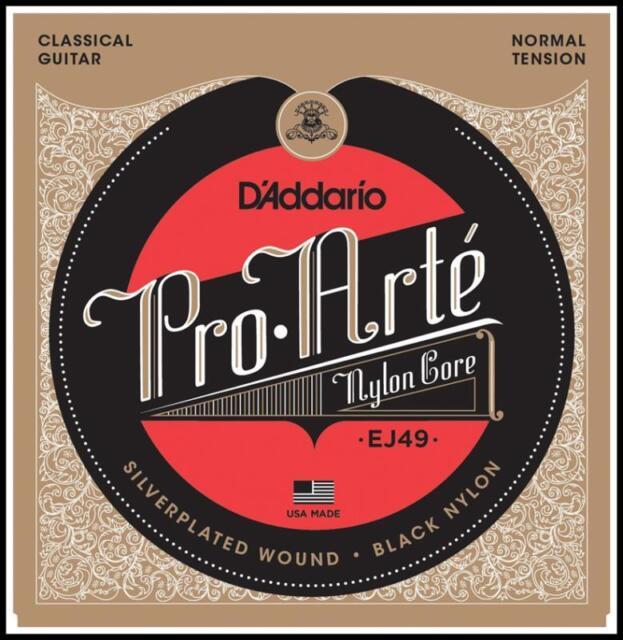 D'Addario EJ49 Pro-Arte Black Nylon Classical Guitar Strings, Normal Tension