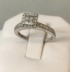 10k white gold Halo diamond engagement ring *Priced Lowest !