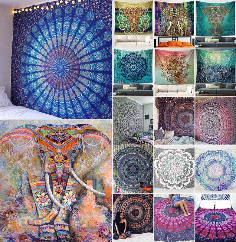 Boho Square Tapestry Mandala Beach Throw Carpet Hippie Picni