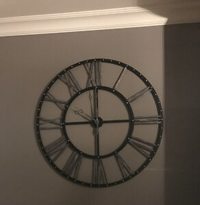 "Clock - Extra Large - 45"" Diameter - Black/Silver Distressed"