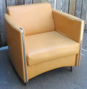 Quality Unique Style Mustard Real Leather Accent Chair