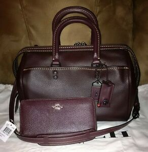 NWT Coach 1941 Oxblood Pebbled Leather Rogue+Wallet