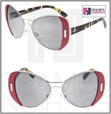 PRADA MOD Geometric PR60SS Red Silver Metal Havana Mirrored Sunglasses 60S