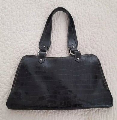 Vintage - Nine West Studio, Black Classic Style, Faux Croc Purse