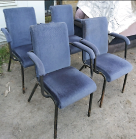 Chairs - Quality Extra Comfy Bluish Grey Fabric & Metal Stackable Chai