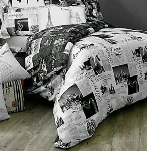 Queen/Double Reversible Duvet Set Passport London and Paris