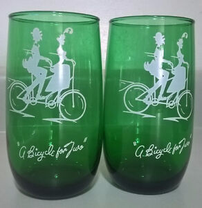 Vintage Anchor Hocking Forest Green A Bicycle Built for 2 Glass