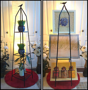 Immaculate! Black Wrought Iron Bird Shelving Planter Stand