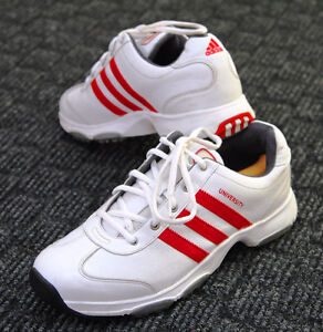 Men Adidas University White Golf Leather Shoes with Red Stripe