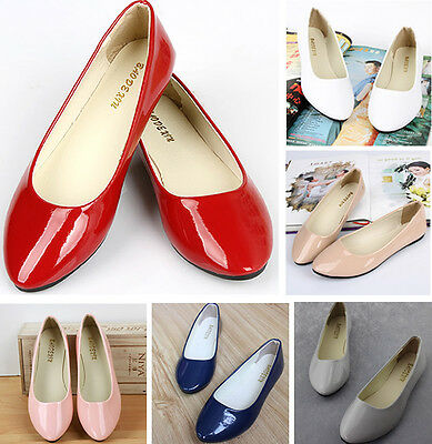 Women Girl Ballet Shoes Flats Leather Boat Shoe Loafers Sapatos Low Heel Work - Girl Ballet Flats
