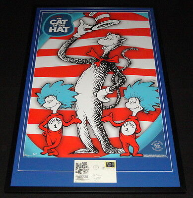 Dr Seuss Signed Framed 26x41 The Cat in the Hat Poster Display JSA