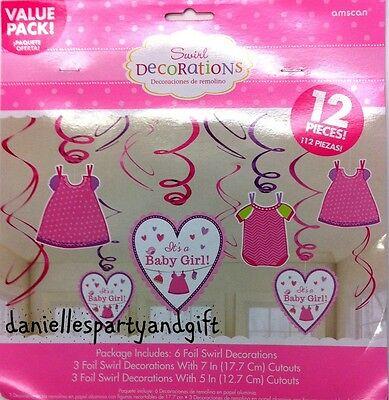 It's a Baby Girl! Dangling Swirl Decoration Set (12 Piece set) - 671489](Baby Girl Decorations)