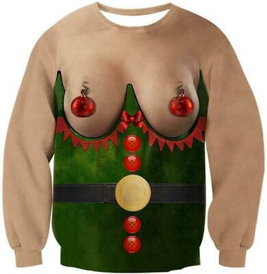 UGLY XMAS CHRISTMAS SWEATER Vacation Santa Dinosaur Women Men Sweatshirt Gifts