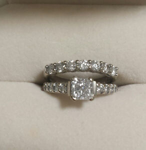Genuine MINED- NOT 'man made'- diamond Bridal set