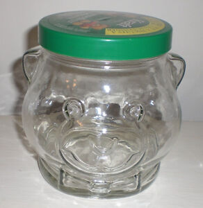 Vintage 1989 Kraft Bear Collectible Glass Cookie Jar With Lid