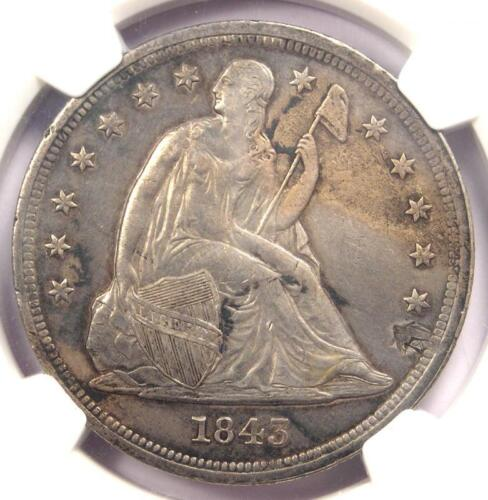 1843 Seated Liberty Silver Dollar $1 - NGC AU Details - Rare Early Date Coin!