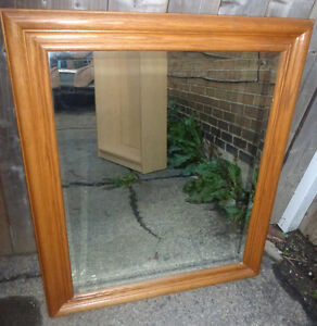 """36"""" x 30"""" Large WALL MIRROR Beveled Glass Solid Wood Frame"""