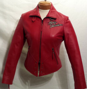 Manteau HARLEY Femme XSMALL Cuir Rouge COMME NEUF 215$ V