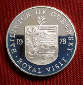 1oz/28g SILVER PROOF CROWN coin - 1978 Royal Visit - Guernsey