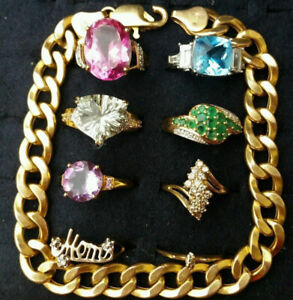 Lot 10K, 14K Gold Mixed Jeweler Bracelet, Rings