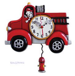 Fabulous BIG RED Fire Truck Designer Wall Clock by Allen Designs