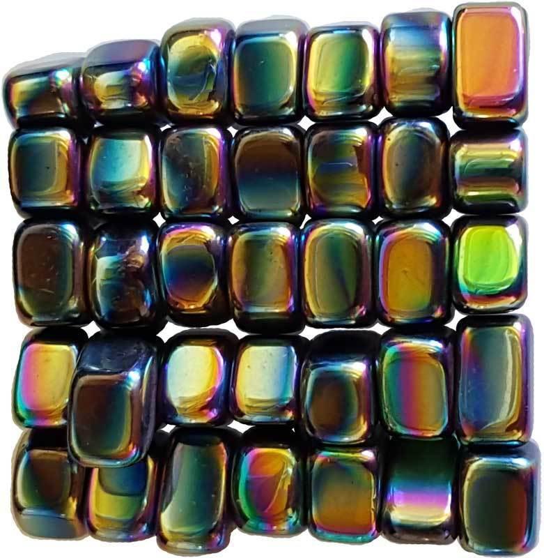 Bulk 1 lb Magnetic Rainbow Hematite Tumbled Stones Chakra Reiki Crystal Healing