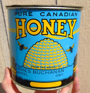 VINTAGE 1940's PURE CANADIAN HONEY (4 lbs) TIN CAN - LAUREL, ONT
