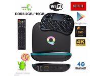 2017 Q-Box Android 6.0 TV Box KODI 17.3 Media Player 2+16GB 5Ghz WIFI Mini Keyboard