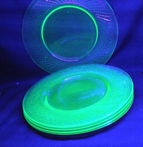 "glowy green glass plates cut crosshatch pattern 8.5"" set of 5 uranium"