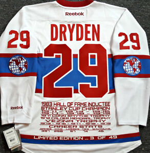 KEN DRYDEN MONTREAL CANADIENS LIMITD/ED-49 RBK STATS JERSEY