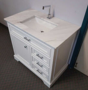 """36"""" classic white comtemporary vanity set with top and sink"""