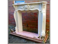 Beautiful Fire Surround with Marble Base and Brass base surround
