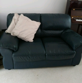 Navy leather 2 seater sofa
