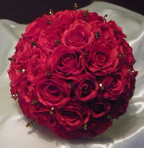 True Princess Wedding Bouquet Of Flowers In Red & Gold. London Ontario image 3