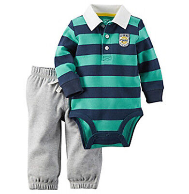 Carters Baby Boy Set Bodysuit Pants Striped Rugby Navy Turquoise NB 3M 6M NWT