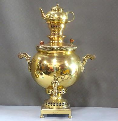 "Large Brass Russian Samovar with Teapot - Marked - 28.5"" tall"