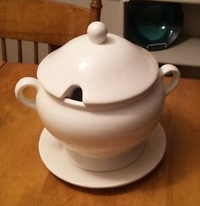 White Ceramic Soup Tureen with Plate