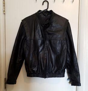 Mens leather jacket coat - Unisex - Large