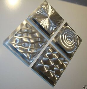 Set-of-4-Silver-Modern-Metal-Wall-Art-Sculptures-Abstract-Decor-by-Jon-Allen