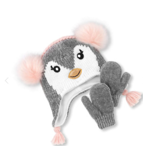 New Toddler Girls Faux Fur Penguin Pom Pom Beanie & Mittens Set