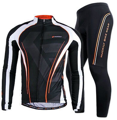 Long Sleeve Riding Shirt - Men Bike Riding Long Sleeve Outfits Cycling Jersey Pants Kits Shirt Tights Sets