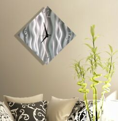Statements2000 Modern Metal Wall Clock Art Abstract Silver Decor by Jon Allen