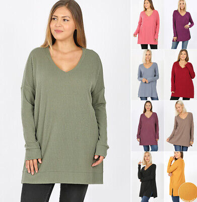 Women's Waffle Knit Sweater Tunic Long Sleeve V-Neck Loose Pullover Top Winter  Waffle Knit Sweater