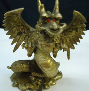 New Bronze Asian Dragon Sculpture / Sculpture d'un dragon