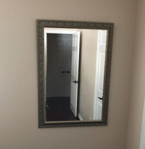 Pair of large framed mirrors - Silver and gold, gold